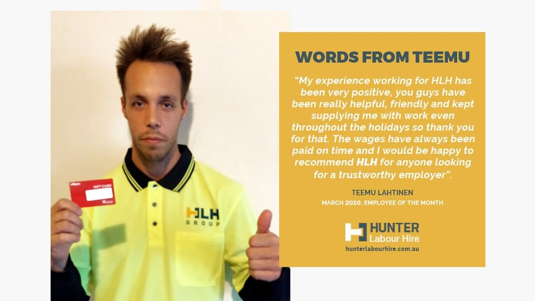 After a very busy month, it's time to congratulate Teemu Lahtinen on being awarded March's Employee of the Month 🏆  Read more 👉 https://bit.ly/2UQ59NJ ___ Contact Hunter Labour Hire Telephone: (02) 8985 2019 Email: info@hunterlabourhire.com.au