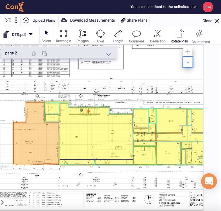 With our simple to use interface you'll be amazed how easy and fast doing takeoffs on screen is. Just upload your plans start measuring. #conxjobs #estimating #drywall #concrete #builder #carpenter